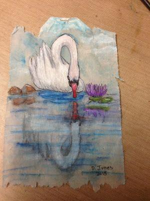 My Teabag Art For Today Is A Swan Tea Bag Art Art Tea Bag