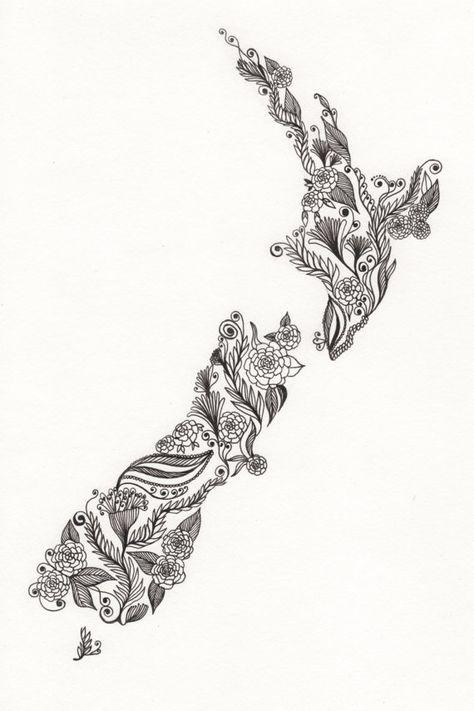 "New Zealand Patterned Art Drawing 8x10"" Print Unframed. $18.00, via Etsy."