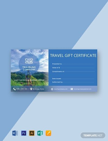 Free Travel Gift Certificate Template Word Doc Psd Intended For Free Trave In 2020 Gift Certificate Template Word Gift Certificate Template Certificate Templates