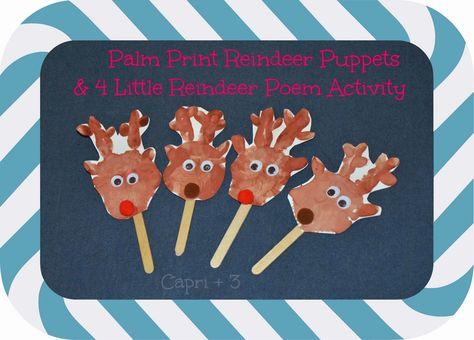 Capri + 3: Palm Print Reindeer Craft and Poem #playfulpreschool