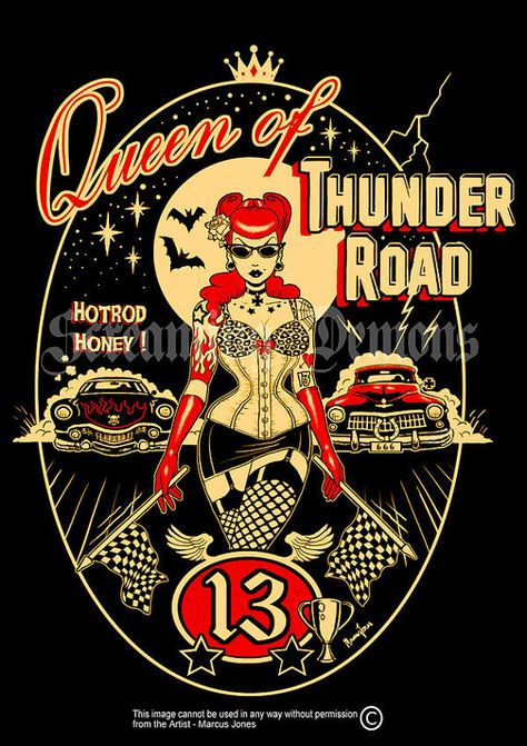 Thunder Road Rockabilly Pinup tattooed PinupArt by MarcusJonesArt