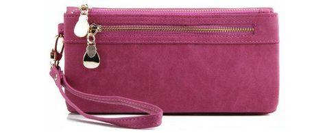 High Capacity Fashion Women Wallets Long Dull Polish PU Leather Wallet Female Double - Fuxia