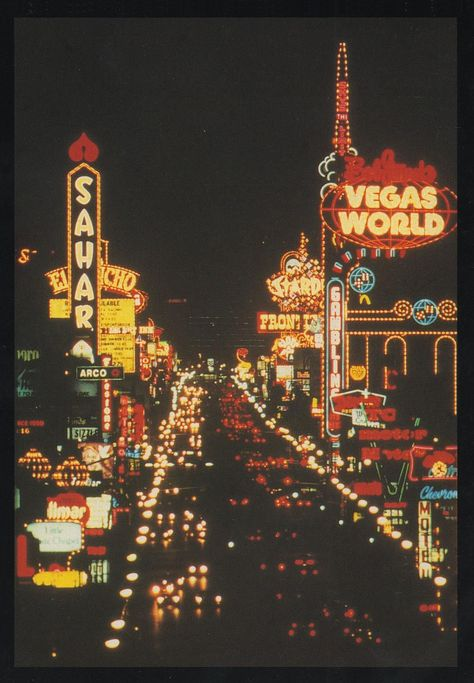 Old Las Vegas Postcard - a unique view of the vintage neon hotel signs on the north end of the Strip.The Sahara, The El Rancho, Bob Stupak's Vegas World, The Stardust, The Frontier Las Vegas casino games and gambling Retro Wallpaper, Aesthetic Iphone Wallpaper, Aesthetic Wallpapers, Aesthetic Collage, Aesthetic Vintage, Las Vegas Strip, Photo Wall Collage, Picture Wall, Images Esthétiques