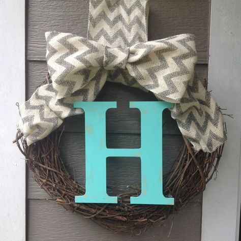 Burlap chevron monogram wreath
