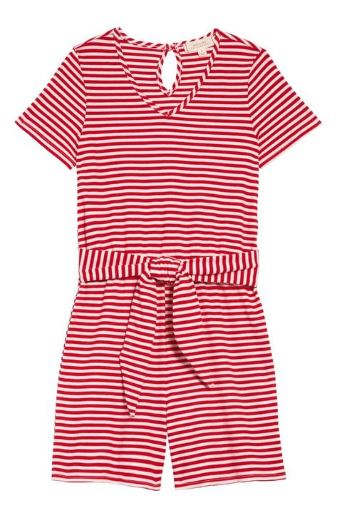 A flippy tie cinches the waist and adds a spunky finish to this playful romper in striped ribbing.