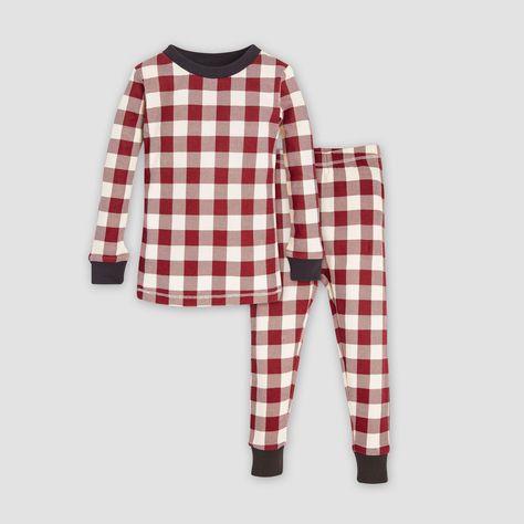 Burt/'s Bees Baby Organic Cotton Rugby Stripe Christmas Pajama Set Red//Off-White