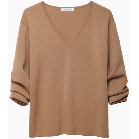 J.W. Anderson Gathered Sleeve V-Neck featuring polyvore fashion clothing tops sweaters shirts long sleeves camel sweater beige sweater vneck shirts camel shirt v neck sweater