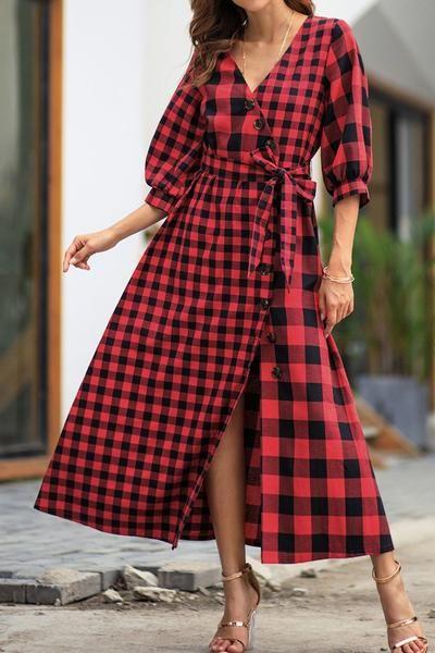 Machen Sie Sich Bereit In Etwas Stilvolles Und Schmeichelhaftes Einzusteigen Unser Eigenes Damen Freizeit Karier Kariertes Kleid Modestil Mode Outfits Frauen