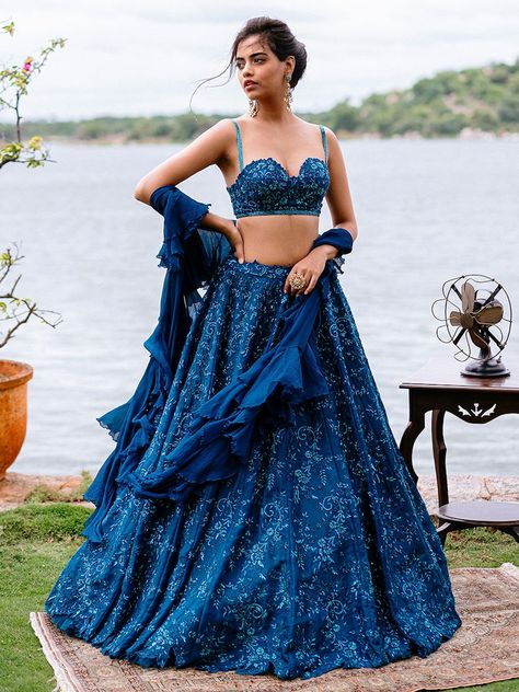 Wearing a blue bridal lehenga for your big day? These blue bridal lehengas will up your glamour quotient. The unique lehenga is in huge demand nowadays. Take cues from these designer lehenga. Indian Lehenga, Blue Lehenga, Indian Wedding Outfits, Bridal Outfits, Indian Outfits, Indian Weddings, Sharara Designs, Dress Indian Style, Indian Dresses