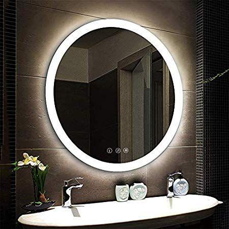 Amazonsmile Nitin Wall Mounted Vanity Mirror With Light Modern Circle Makeup Mirror With Smar In 2020 Bathroom Mirror Bathroom Mirror Lights Rustic Bathroom Vanities