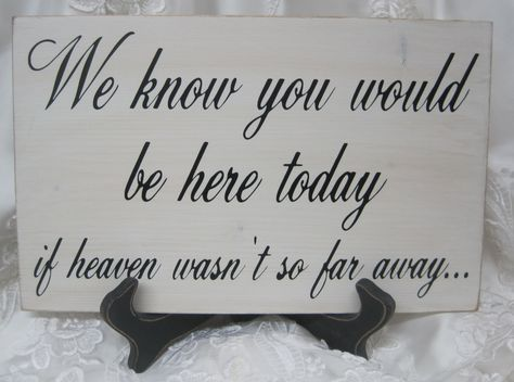 Love it.  Putting on a table with pictures of family members we've lost. This is an amazing idea that I will for sure be doing at my wedding!!!