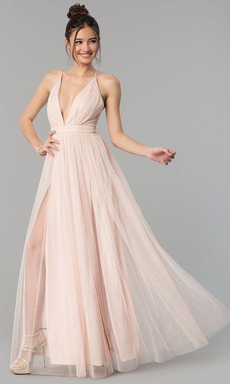 60203a9c7812 Open-Back Tulle Mauve V-Neck Long Prom Dress