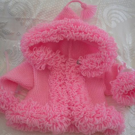 Pink Baby Sweater loopy trim pink hoodie by AnnabellesWardrobe, £19.00