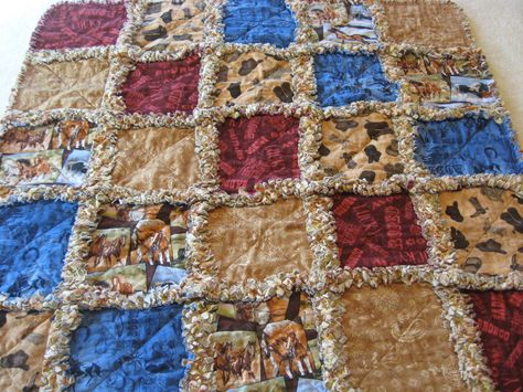 Pre Cut Rag Quilt KIT cowboy hats red brown and blue Western boots