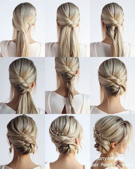 This elegant hairstyle is also suitable for wedding.Low bun wedding hair can match your wedding dress. Bridal hair updo or bridesmaid hair updo is perfert for wedding hairstyles updo. Save it and don't hesitate to try it!