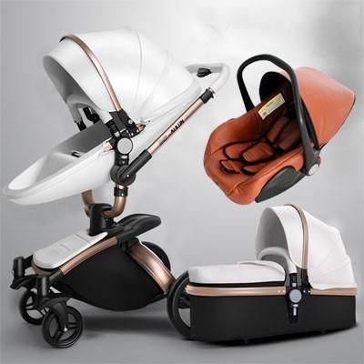 2017 New Brand Baby Strollers 3 In 1 Leather Pram AULON Europe Car Seat Basket Bassinet Golden Frame Gifts