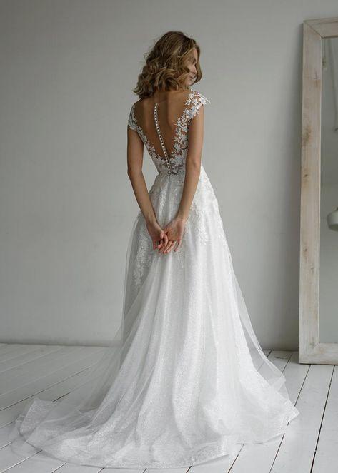 Enn by Olivia Bottega Lace Bodice A-Line Wedding Dress | Etsy