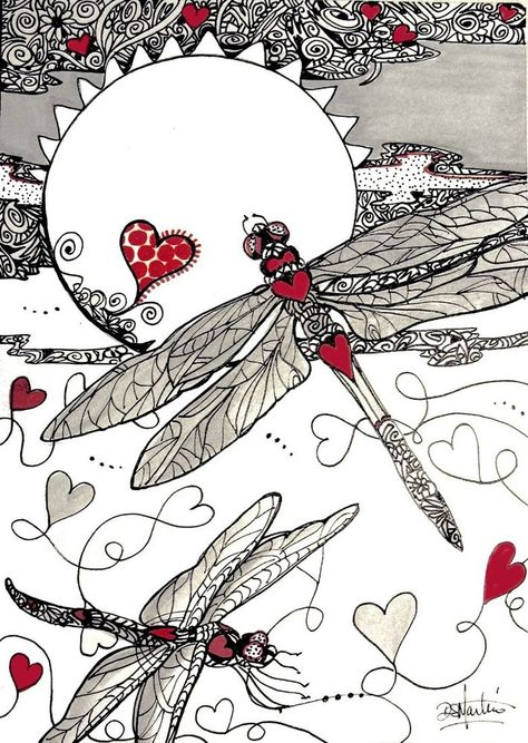 DRAGON HEARTS SPeciALTY hearts Dragonflys Original paper 5x7 zentangle by Diana Martin