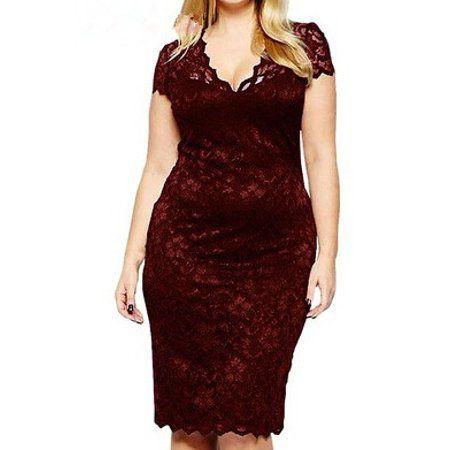 Clothing   Casual party dresses, Plus size lace dress, Plus ...