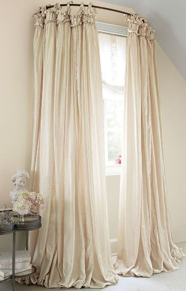use a curved shower rod for window treatment idea for room but canu0027t find curved shower rod