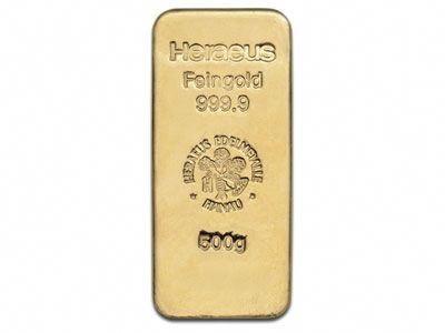 Heraeus 500 Gram Cast Gold Bullion Bar 999 9 Fine Goldinvestment Gold Bullion Bars Gold Bullion Gold Bar