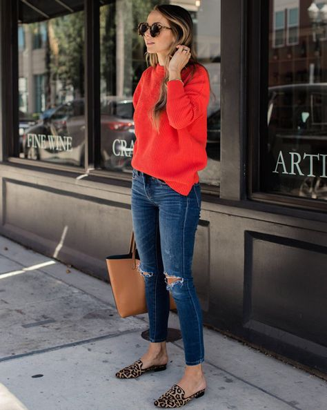 30 Casual Outfits Looks to Inspire Your Autumn Wardrobe - Loafers Outfit - Ideas of Loafers Outfit - cute outfit_red sweater ips bag loafers