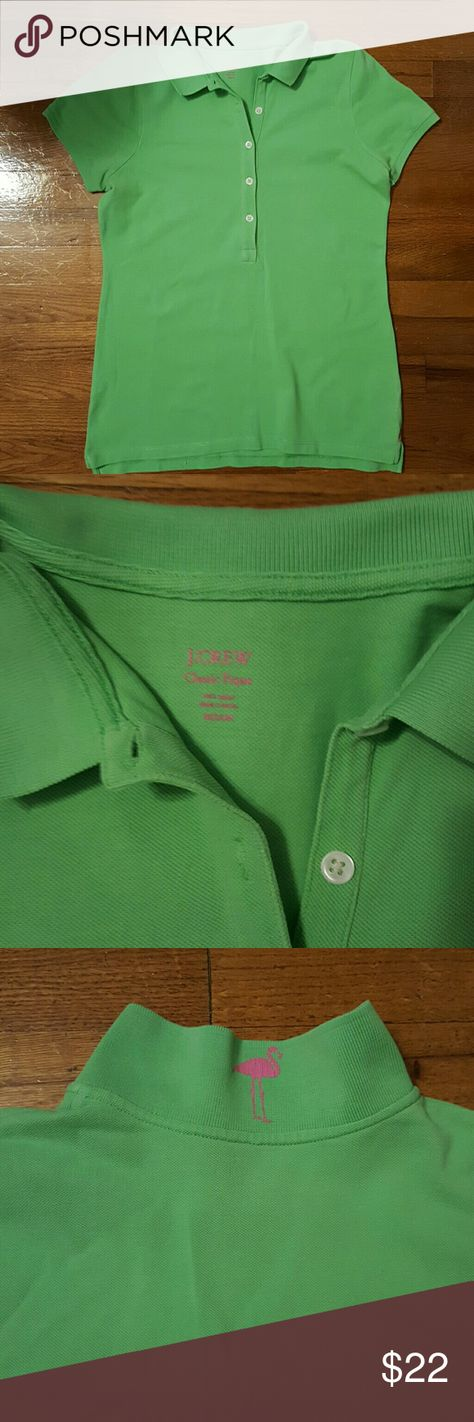 JCREW Classic Pique polo Women's J. CREW CLASSIC PIQUE POLO......RARE ! Green apple with pink flamingo on back of collar and on bottom of shirt stitching one x on each side (pink). Size Medium. Super Cute. Never wore. No tags. J. Crew Tops