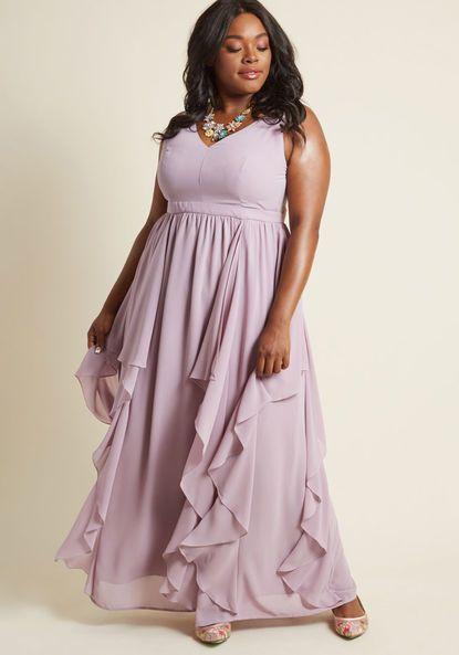 Modcloth As Ruffles Ripple Maxi Dress In Lavender Light Purple Plus Size Bridesmaid Dress Availa Maxi Dress Mint Maxi Dresses Plus Size Wedding Guest Dresses