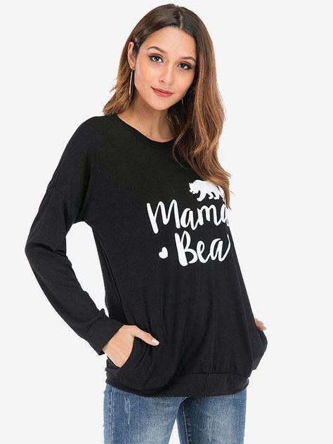 Dresswel Women Mama Bear Graphic Print Crew Neck Long Sleeves Blouse Tops