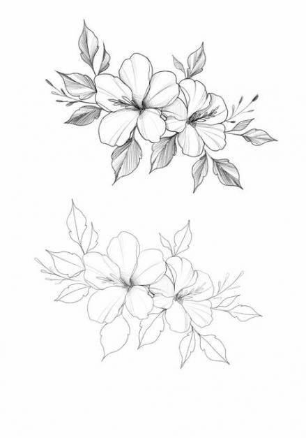 Hibiscus Outline Bulbs In 2020 Flower Drawing Design Flower Sketches Flower Drawing