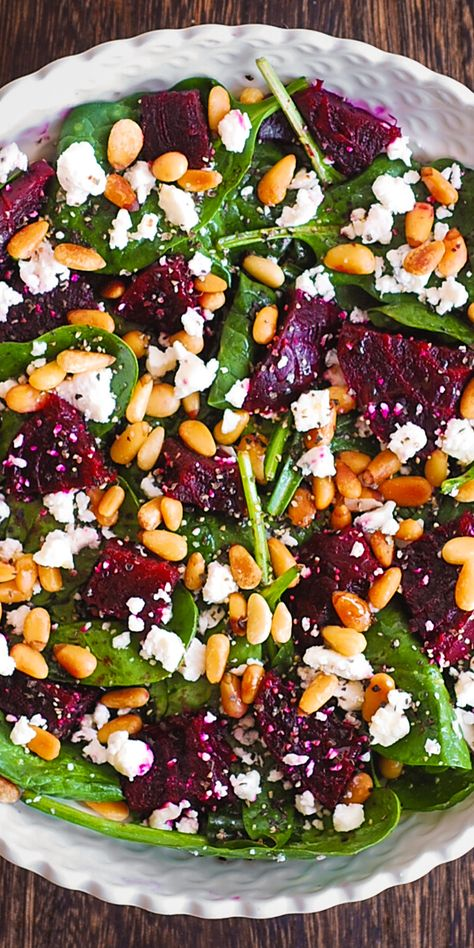 Beet Salad with Spinach, Goat Cheese, Pine Nuts