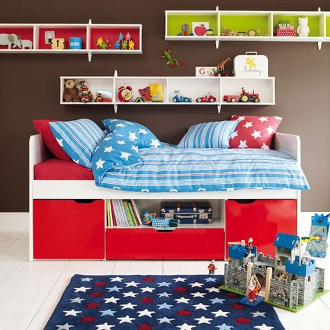 bed with storage beneath (finally something other than bunk beds!), horizontal shelves, love the bright colors at back of shelf