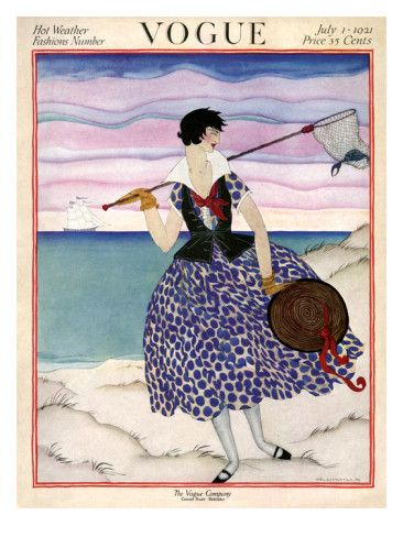 July 1, 1921  The stunning color palettes used by Helen Dryden in her fashion illustrations made for eye-catching vintage Vogue covers. Here, a woman wears a fitted black vest over a blue polka-dot dress and creates interest with red ribbons around her hat and décolletage. She holds a net containing a crab as she strolls along the beach, a tri-masted ship sailing in the background. The tranquil scene appeared on the July 1, 1921, Vogue cover, which announced the Hot Weather Fashions Number.