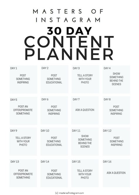 30 Day Instagram Content Planner by Masters of Instagram on @creativemarket 30 day Instagram content planner for travel industry pros. ❤ Affiliate ad link.