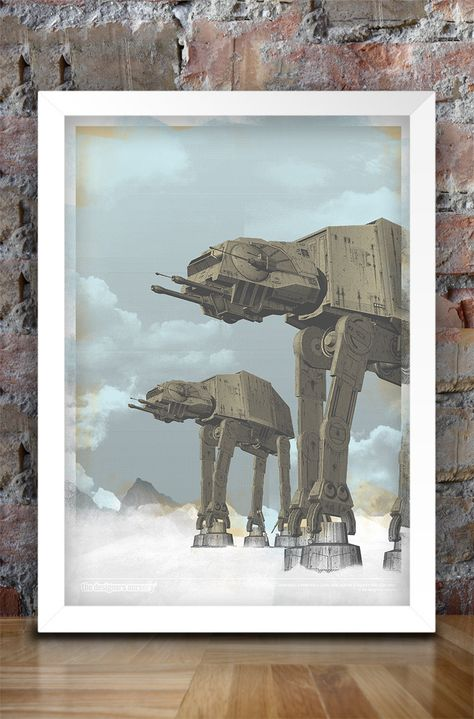 Really Awesome star wars prints! Star Wars Inspired Print (HOTH ATTACK) A3 - 2012. $30.00, via Etsy. @Holly Hanshew