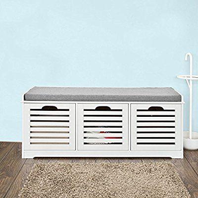 Amazon Com Sobuy Storage Bench With 3 Drawers Seat Cushion Shoe Cabinet Storage Unit Bench Fsr23 W Kitchen Dining Panca Contenitore Panchine Scarpiera