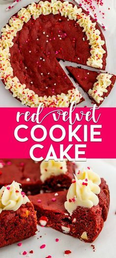 Make this EASY Red Velvet Cookie Cake from cake mix. This Valentines cookie cake is fast easy and perfect for red velvet cake lovers.  Make this EASY Red Velvet Cookie Cake from cake mix. This Valentines cookie cake is fast easy and perfect for red velvet cake lovers.