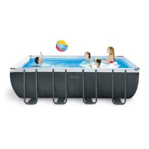 Intex 16 Ft X 8 Ft X 42 In D Rectangular Metal Frame Above Ground Pool 26791eh The Home Depot Rectangular Pool Swimming Pools Square Pool