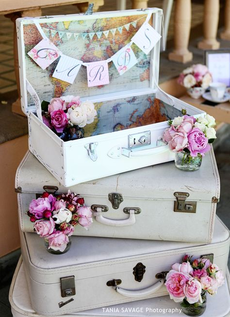 Vintage Suitcase Wishing Well Cards Area_ by Mackenzi Creations Wedding & Event Planning
