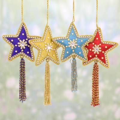 4 Star Shaped Multicolored Embroidered Ornaments From India Glistening Stars Tis The Season Filzen Weihnachten Advent