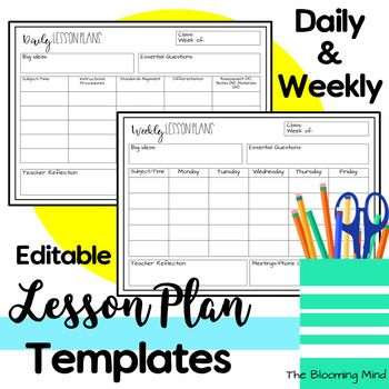 Free Editable Lesson Plans Page Templates These Weekly And Daily Lesson P Preschool Lesson Plan Template Weekly Lesson Plan Template Lesson Plan Template Free