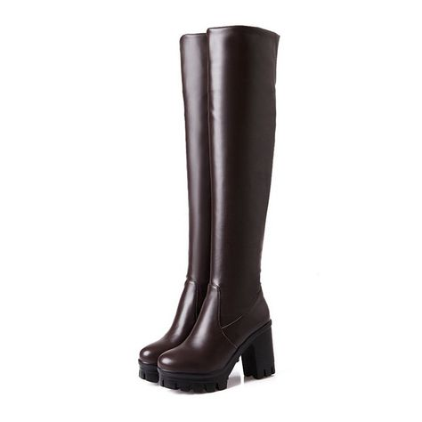 32a6feaf37d BalaMasa Womens Pull-On Platform Chunky Heels Imitated Leather Boots -- You  can get more details by clicking on the image.  boots