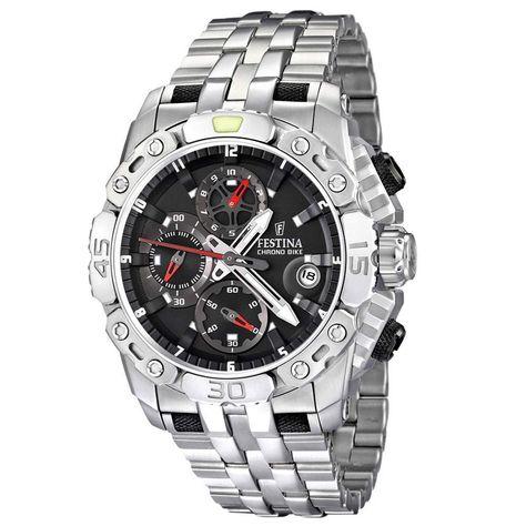 Festina F16542-3 Men's Chrono Bike Tour De France Black Dial Stainless Steel Watch