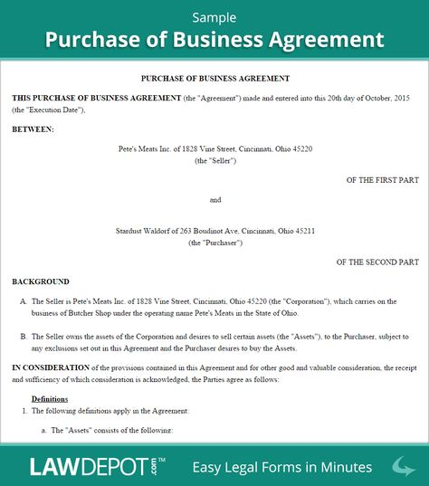 Free Purchase Of Business Agreement Create Download And Print