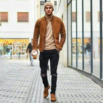 How to wear a beanie hat for men. Brown slouch beanie hat, suede bomber jacket, turtleneck tee, black ripped jeans Click image to view more.