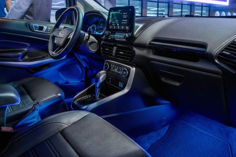 The 2018 Ecosport Interior Illuminated By Available Ambient Lighting Ford Ecosport Car Ford Compact Suv
