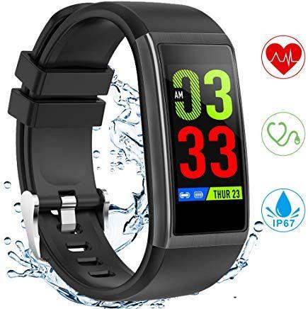 Yonmig Fitness Armband Fitness Tracker Mit Pulsmesser Blutdruckmessung 1 14 Zoll Farbbildschirm Ip67 Wasserdicht Sma Smartwatch Fitness Armband Fitness Tracker