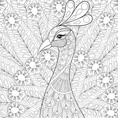 Peacock With Feathers In Zentangle Style Freehand Sketch For Ad Stock Illustration 124627296 Peacock Coloring Pages Animal Coloring Pages Coloring Pages