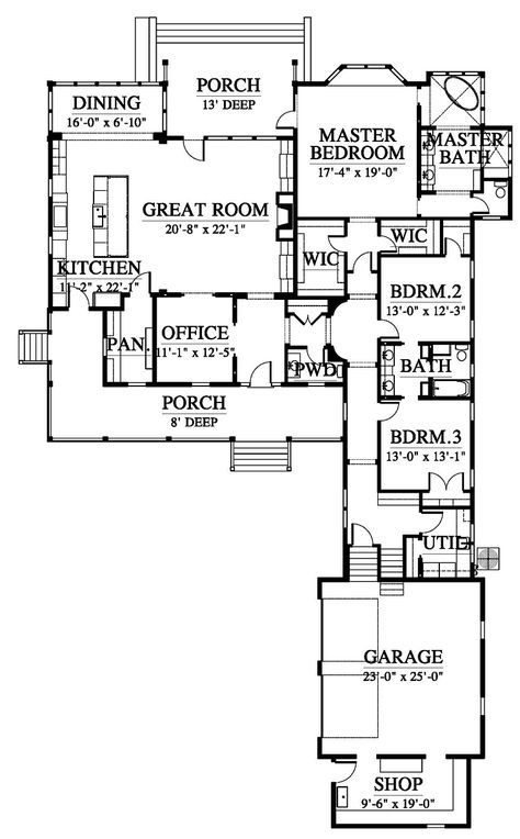 First Floor Of Plan Id 58275 Can I Shrink Room Sizes And Have The Same Layout House Plans Southern House Plans Best House Plans