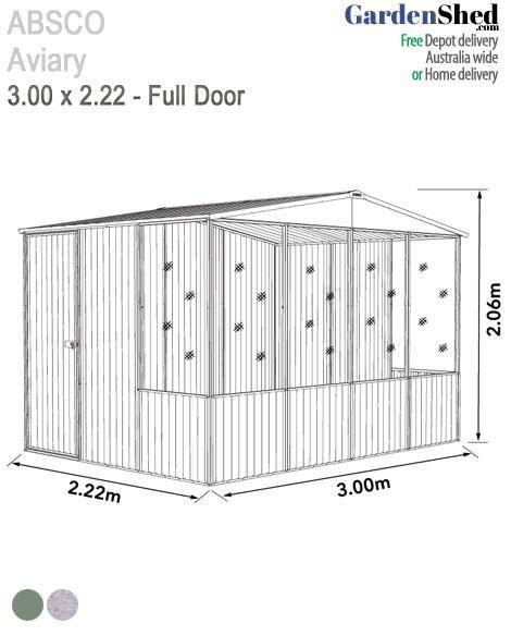Absco Aviary 3m X 2 22m Bird Cage Gardenshed Com Pet Safe Single Doors Aviary